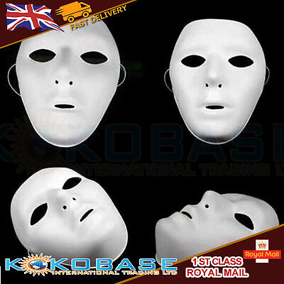 FULL WHITE FACE MASK PLAIN MASKS FANCY DRESS Hallowen MASQUERADE PARTY JOB LOT](Hallowen Clothes)