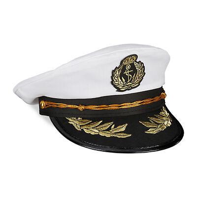 Kapitänsmütze Kapitänshut Offizier Mütze Kostüm Matrosenmütze Weiß Fasching Hut ()