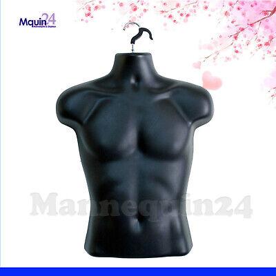 Male Mannequin Form Hanger Body Dress Torso Display Men T-shirt - Black
