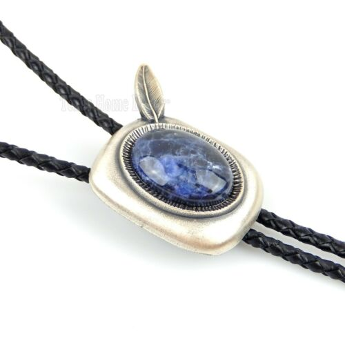 """Blue Plessite Stone Feather Bolo Tie Real Silver Plated 36"""" Adjustable Cord"""