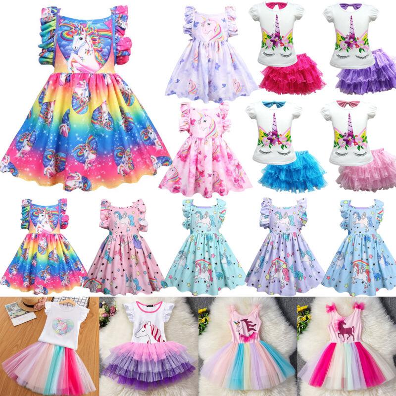 Mädchen Einhorn Kleid Kinder Prinzessin Party Kostüm Sommerkleid Outfit Gr80-128