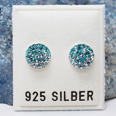 NEU 8mm OHRSTECKER 925 Silber SWAROVSKI STEINE blau/kristallklar OHRRINGE