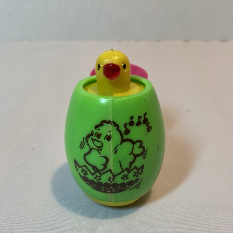 Vintage Chick Pop Up Easter Toy Stenciled Hard Plastic by Easter Unlimited