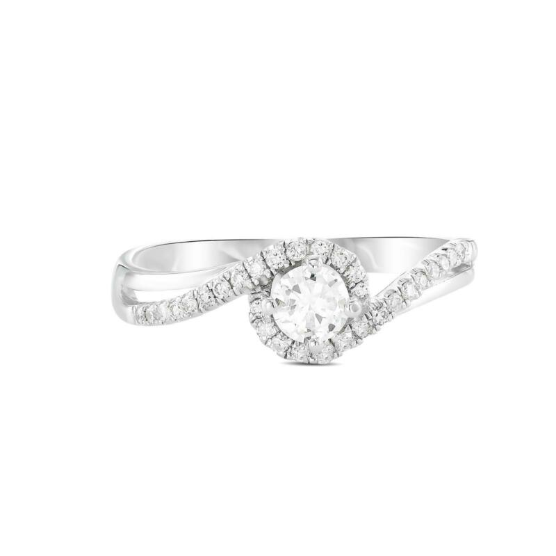 Real Diamond Engagement Ring Enhanced Vs2 F Round Cut 14k White Gold Wedding