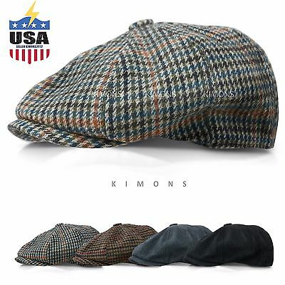 Applejack Wool Houndstooth Plaid Ivy Hat Gatsby Cap Golf Cabbie Flat Newsboy -