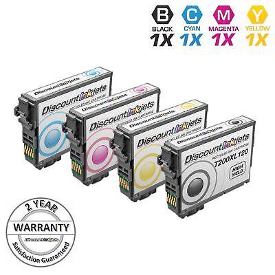 Blacks 200 Printer Cartridge - 4pk Set T200XL120 200XL 200 Black & Color Printer Ink Cartridge for Epson XP-410