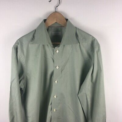 Eton Contemporary Green Stripe Long Sleeve Button Up Shirt 17.5/37