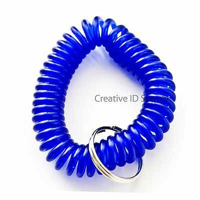 WHOLESALE 12 24 50 100 PCS SPIRAL WRIST COIL KEY CHAIN KEY RING HOLDER BLUE](Spiral Keyring)