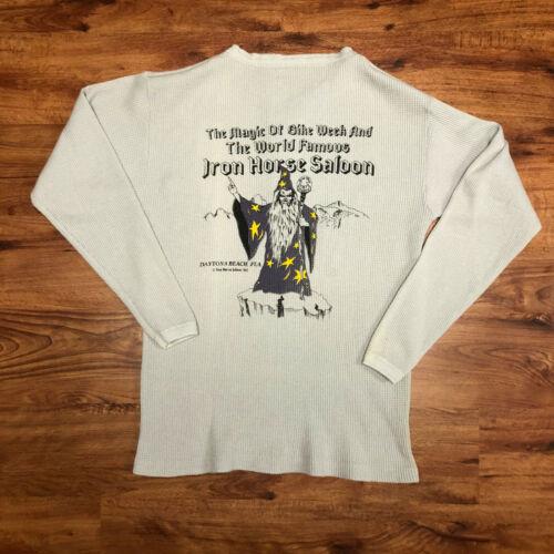 Vintage 80s 1987 Iron Horse Saloon Daytona Beach Bike Week Thermal Shirt Size XL