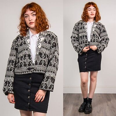 WOMENS VINTAGE BLACK & WHITE AZTEC PRINT TAPESTRY JACKET JACQUARD CROPPED 12
