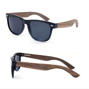 Classic Eco Wayfarer dark EBONY Wood Sunglasses - BLACK (POLARISED LENS)
