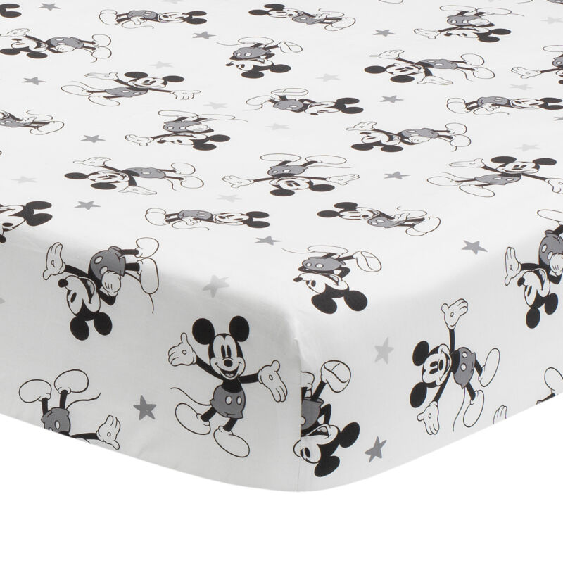 Lambs & Ivy Magical Mickey Mouse Cotton Fitted Crib Sheet - White, Disney