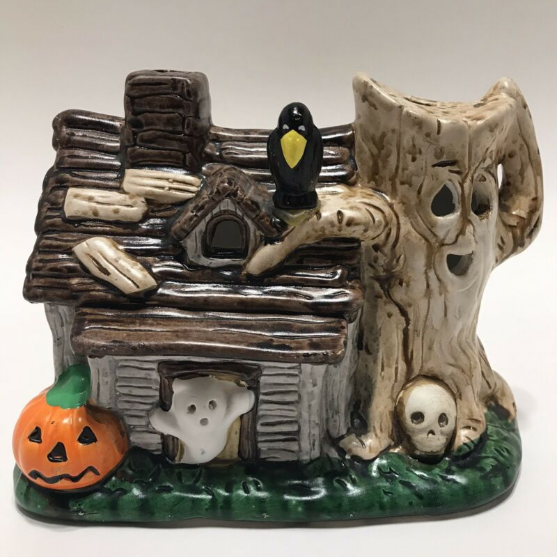 VTG 1987 Ceramic Haunted Lite House Spooky Halloween House Decor 80s - VIDEO