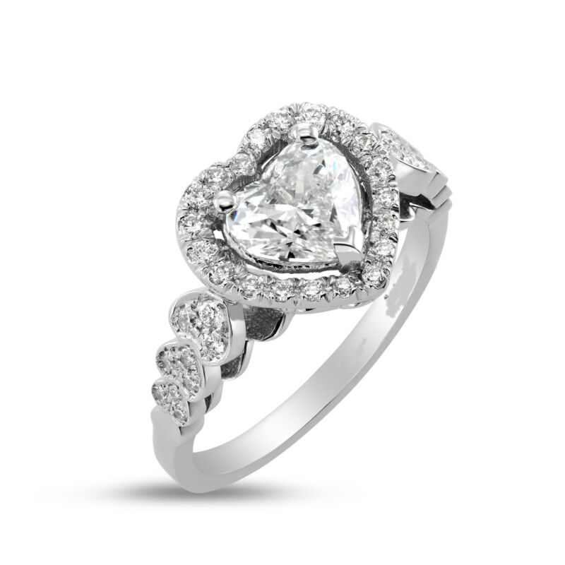 Ladies Colorless Halo Diamond Ring 1.5 Carats Estate 14k White Gold Size 4.5 - 9
