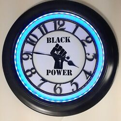 Black Power Wall Clock LED Mood Color Changing LARGE