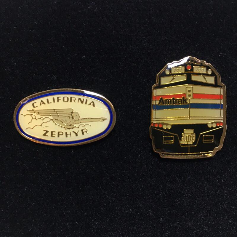 NEW Two (2) Amtrak Train + California Zephyr Railway Railroad Brass Lapel Pins