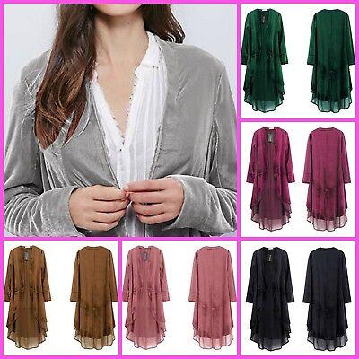 Blazer Coat Casual Jacket Women Ruffled Soft Asymmetric Long Velvet Warm Top - Velvet Blazer