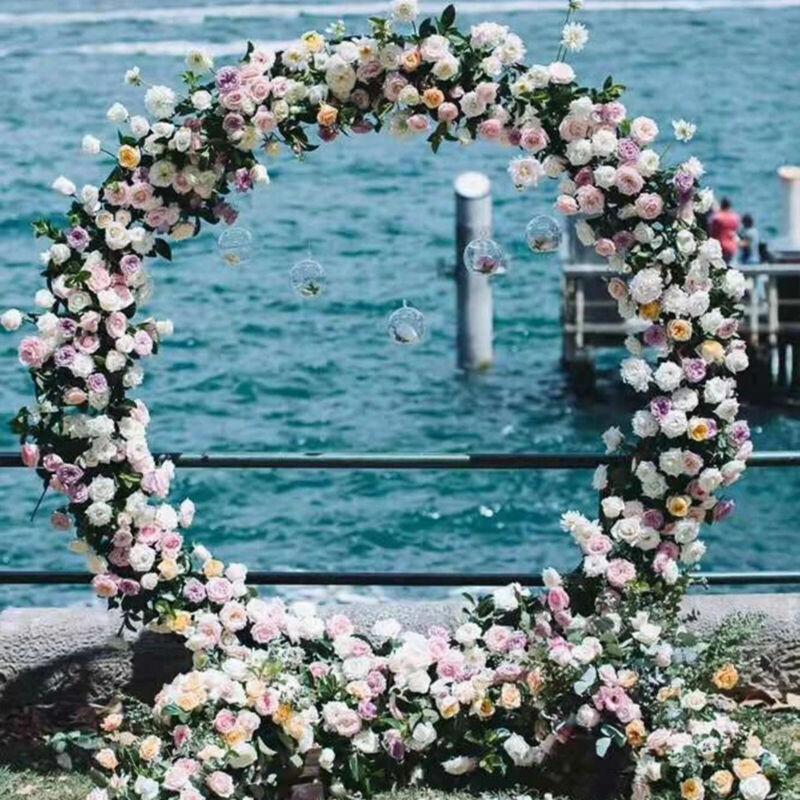 Ring Iron Wedding Arch Props Background Flower Circle Outdoor Lawn Wedding Door