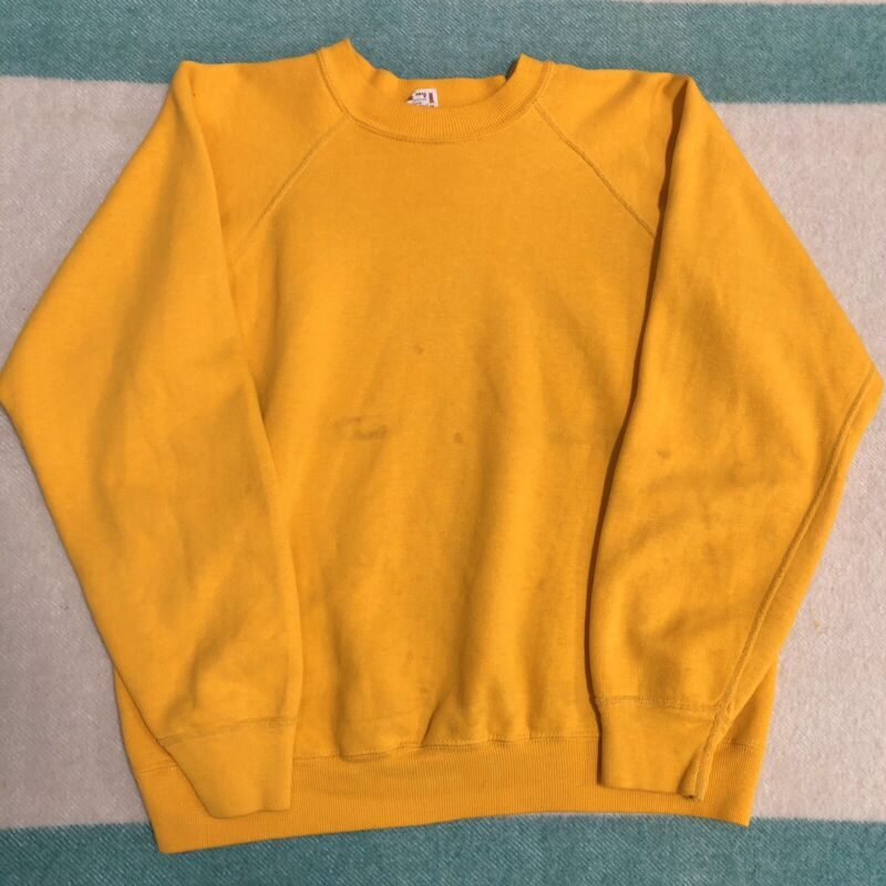Vintage 1960s Sweatshirt Towncraft Yellow Large V Cotton Faded