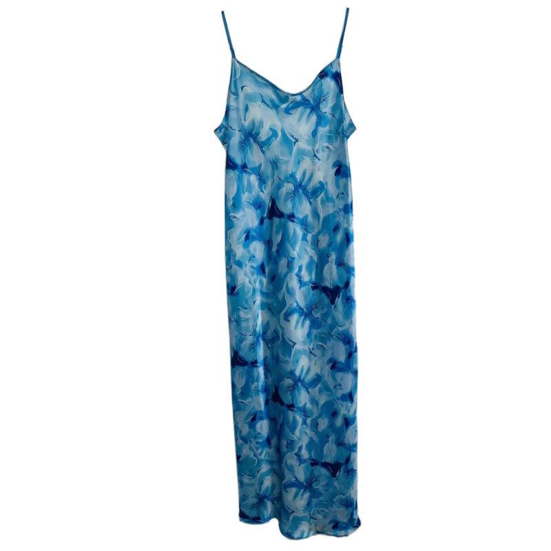 NATORI Full Length Silk Nightgown Slip M Blue Floral Spaghetti Strap Chemise