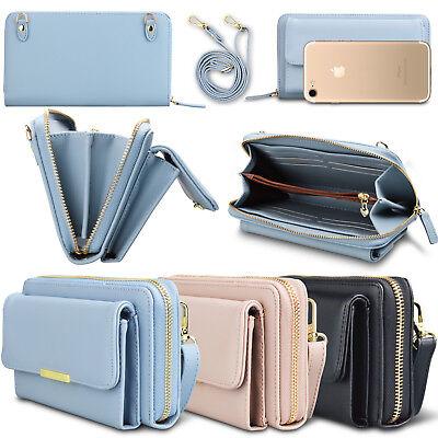 Wallet Purse With Strap (Leather Crossbody Purse Shoulder Bag Women Wallet Phone Card Holder Strap)