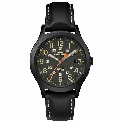 """Timex TW4B11200, Midsize """"Expedition"""" Black Leather Watch, Scout, Indiglo, Date"""