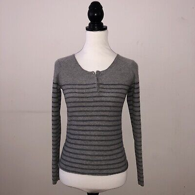 Womens Size 12 'white Stuff' Grey Stripe Jumper/sweater/cardigan