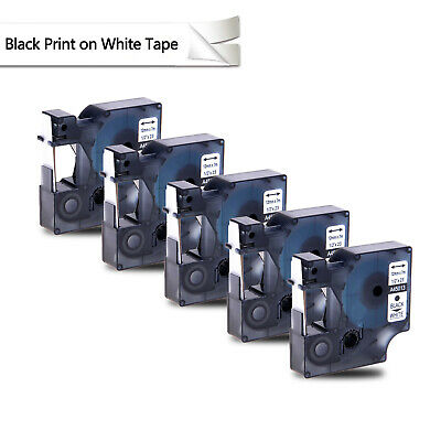 5pk Black On White Label Tape For Dymo D1 45013 12 X 23 S0720530 Labelmanager