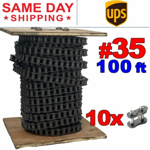 #35 Roller Chain x 100 feet + 10 Connecting Links + Same Day Expedited Shipping