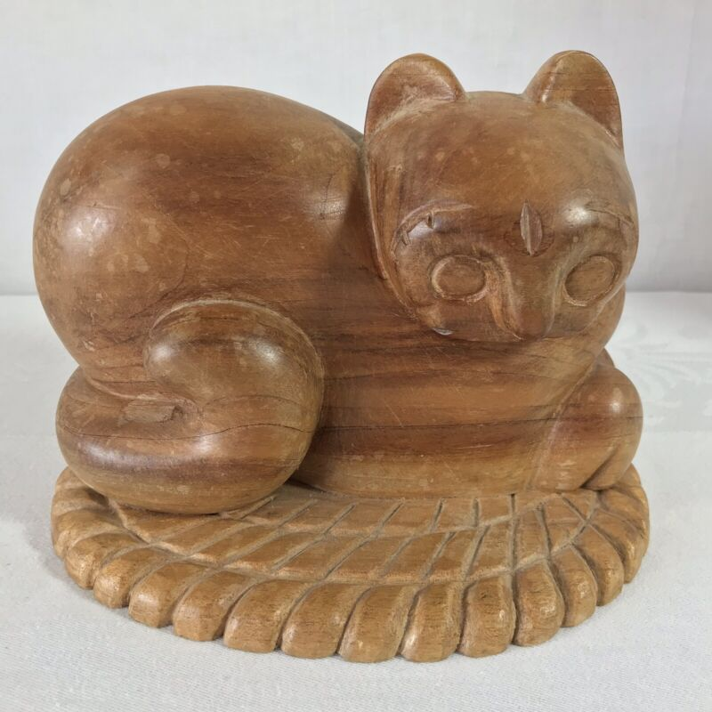Vintage Wood Hand Carved Cat Laying On Rug Figure Statue