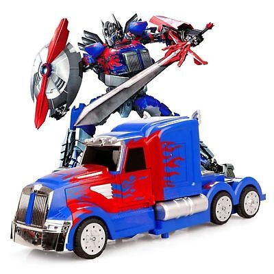 NEW Transformers Optimus Prime Truck Light Up Bump & Go Car LED Toy Action Sound - Transformers Prime Toys