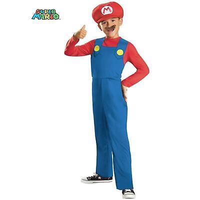 Nintendo Super Mario Boy Size SMALL 4-6 OR Medium 8-10  Costume WITH MUSTACHE