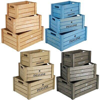 Apple Fruit Crates Storage Shabby Chic Vintage Boxes Rustic Christmas Hamper Set