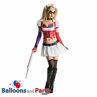 Adult's Official Arkham City Harley Quinn Batman Fancy Dress Halloween Costume](Harley Quinn Arkham City Halloween Costume)