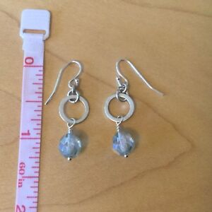 Handcrafted silver earrings with aqua crystal beads