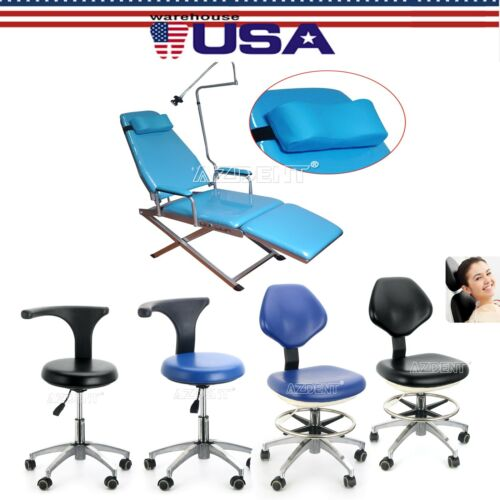 Dental Simple Type-Folding Chair Doctor Assistant Stool Adjustable Height Mobile