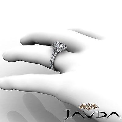 Double Halo Pave Split Shank Emerald Diamond Engagement Ring GIA H VS2 2.6 Ct 4