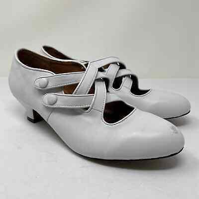 American Duchess Womens Sz 10.5 Astoria Edwardian Leather Shoes Historical White
