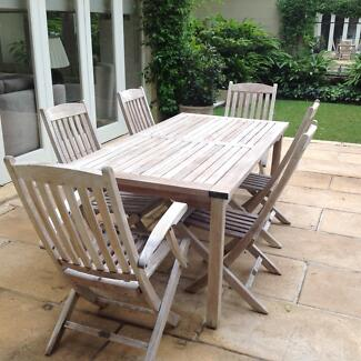 Teak Outdoor Table and 6 Chairs Woollahra Eastern Suburbs Preview