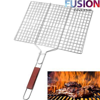 Large Bbq Meat Burger Fish Long Handle Holder Grill Rack Rectangle Folding Stand