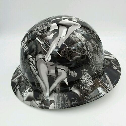 Hard Hat FULL BRIM custom hydro dipped , OSHA APPROVED , BIKER BABES WOW 1