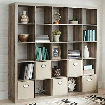 Tall Bookcase Wall Unit 25 Cube Interior Organizer Room Divider Storage Bookcase - Tall Cube Storage