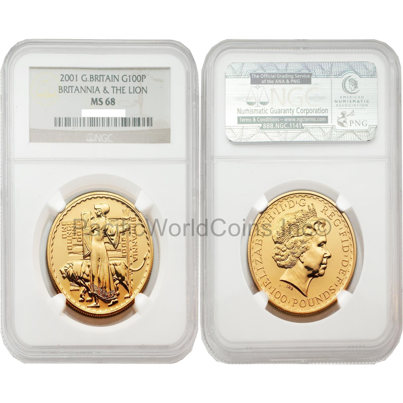 100 Pounds Gold NGC MS68 Una and the Lion Great Britain Britannia 2001