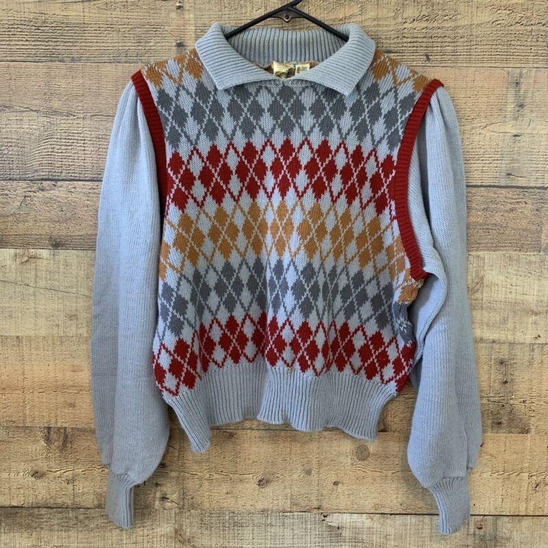 Vintage 1970's Puff Sleeve Argyle Sweater