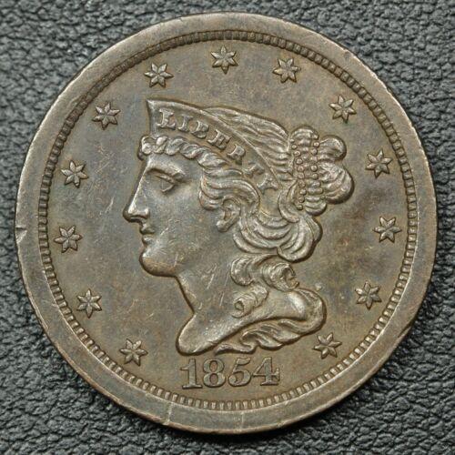 1854 Braided Hair Copper Half Cent