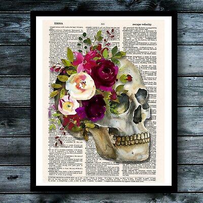 Skull Noir Vintage Dictionary Art Print Halloween Macabre  Steampunk Wall Decor](Halloween Wall Decor)