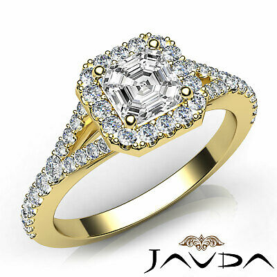 Asscher Shape Diamond Engagement GIA H VS2 18k White Gold Halo Pave Set Ring 1Ct