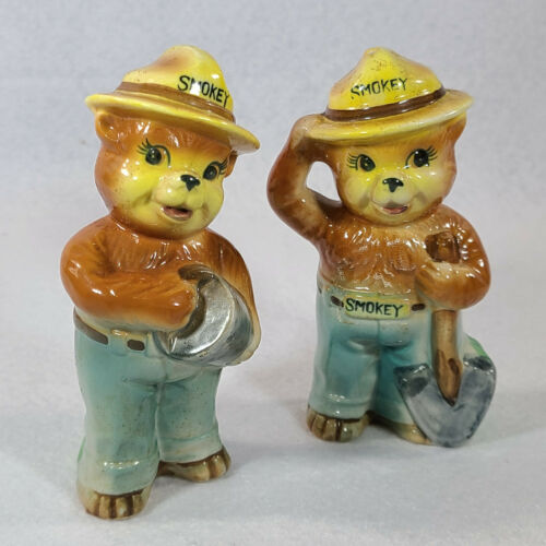 Vintage Smokey the Bear Salt and Pepper Shakers Made in Korea