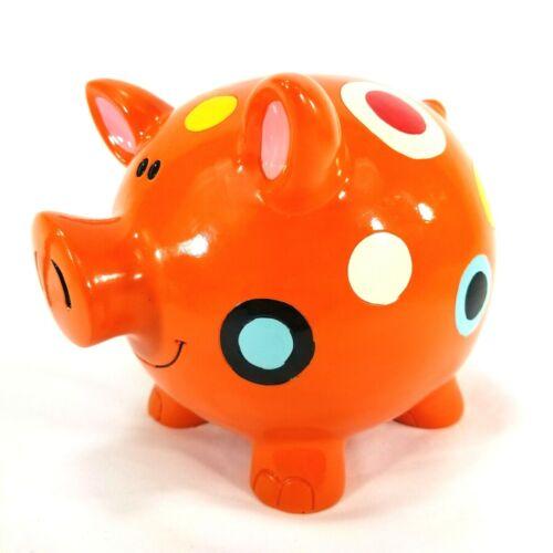 "Ceramic Spotted Hand Painted Polka-Dot Pig Piggy Bank Art Deco, Orange 8""x6""x6"""