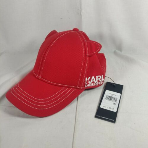 Karl Lagerfeld Paris Cat Ear Baseball Hat Cap Red Choupette NWT Embroidered Logo